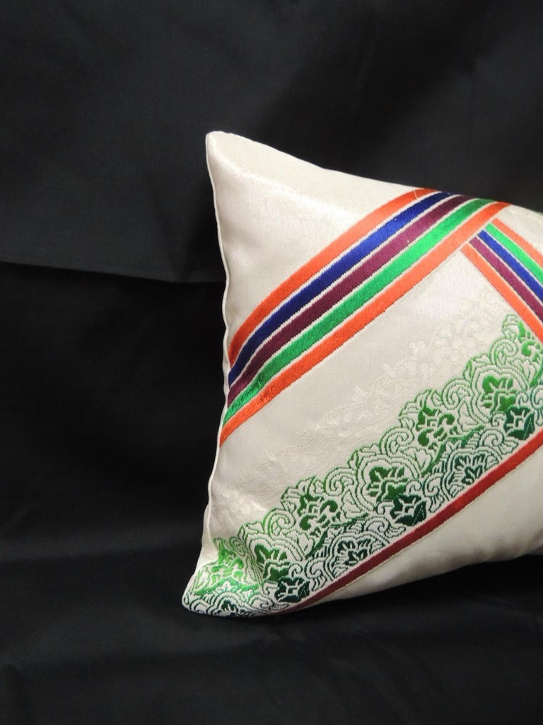 """Vintage Orange and Green Kimono Obi Decorative Silk Embroidery Lumbar Pillow Vintage Kimono Sash decorative silk embroidery lumbar pillow. """"A kimono sash is a long flat piece of fabric used to secure a traditional Japanese robe called a kimono by"""