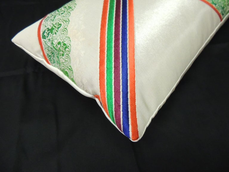 Japonisme Vintage Orange and Green Obi Decorative Silk Embroidery Lumbar Pillow For Sale