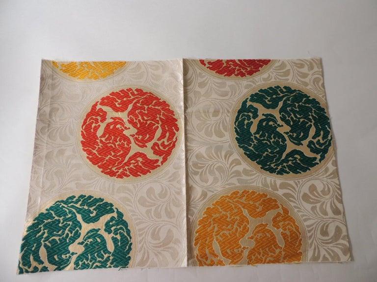 Japonisme Vintage Orange and Green Silk Obi Textile with Medallions Fragment For Sale