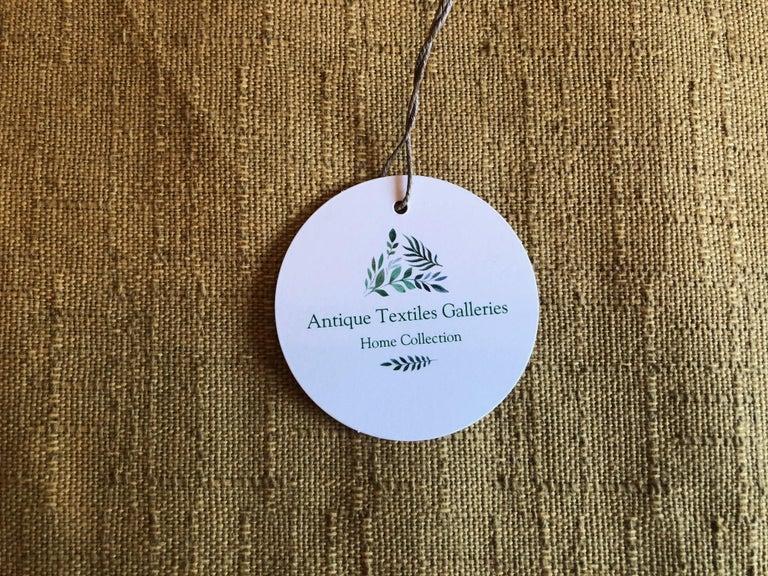 Japanese Vintage Orange and Green Silk Obi Textile with Medallions Fragment For Sale