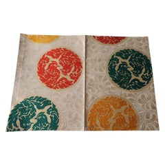 Vintage Orange and Green Silk Obi Textile with Medallions Fragment