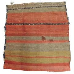 "Vintage Orange and Red Kilim ""Mafrash"" Grain Sack Fragment"