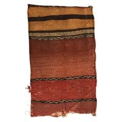 "Vintage Orange and Red Kilim ""Mafrash"" Grain Sack Fragment Vintage"