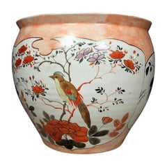 Vintage Orange and White Porcelain Japanese Fish Bowl Planter