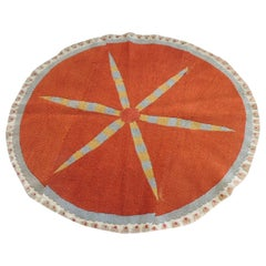 Vintage Orange and Yellow Oval Suzani Textile Fragment