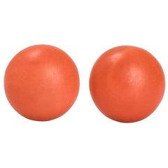 Vintage Orange Coral Stud Earrings
