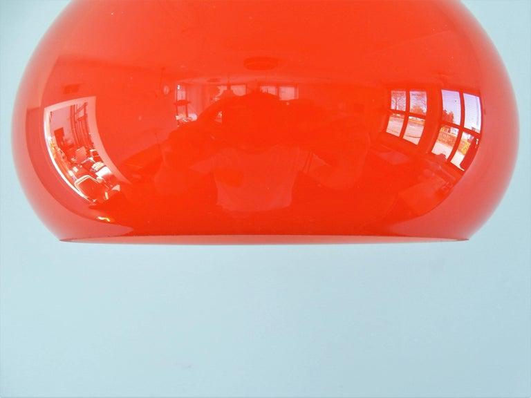 Mid-Century Modern Vintage Orange Glass Pendant Lamp, Denmark, 1960s For Sale