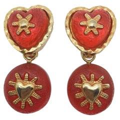 Vintage Orange & Gold Heart Drop Earrings 1990s