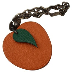 Vintage Orange Hermes Silver and Leather Keyring  Kelly / Birkin Charm