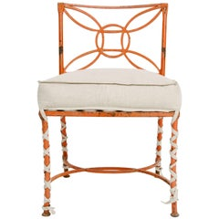 Vintage Orange Painted Iron Occasional Chair