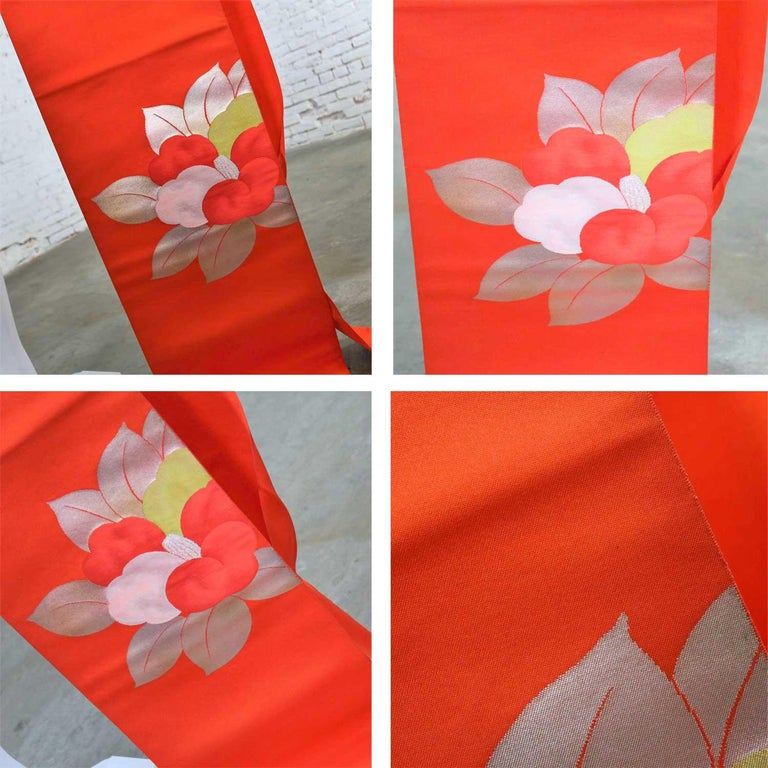 Vintage Orange Silk Japanese Obi with Gold and Silver Lamé and Brocade For Sale 7