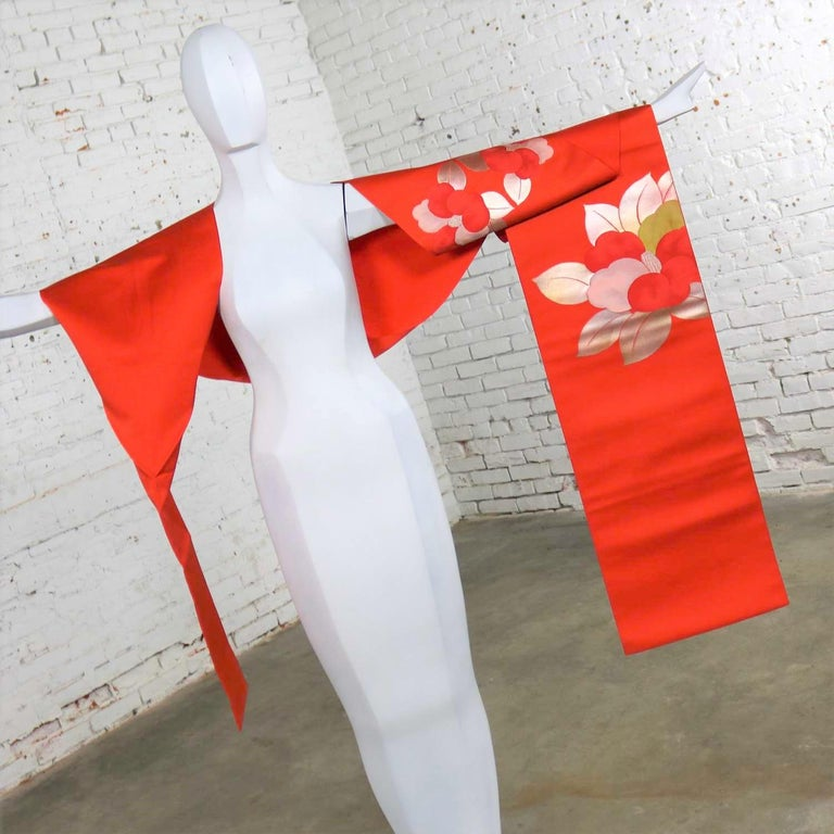 Japonisme Vintage Orange Silk Japanese Obi with Gold and Silver Lamé and Brocade For Sale
