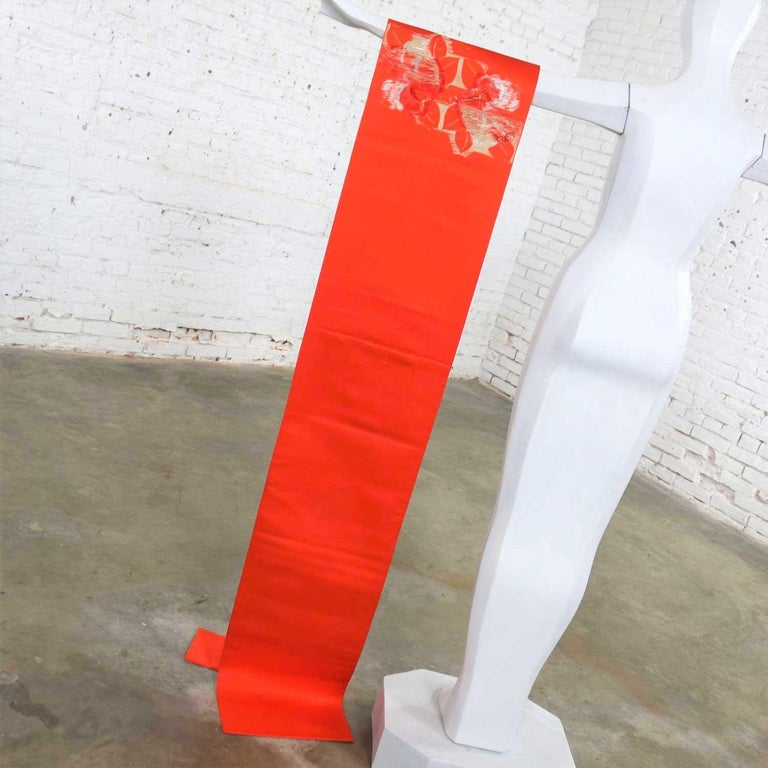20th Century Vintage Orange Silk Japanese Obi with Gold and Silver Lamé and Brocade For Sale