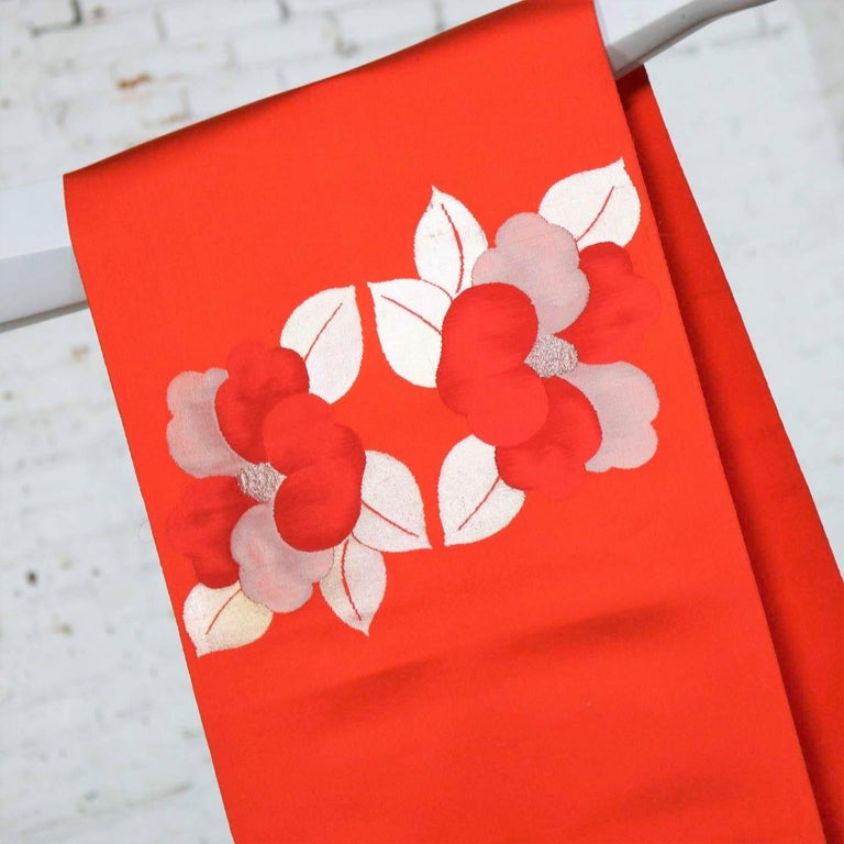 Vintage Orange Silk Japanese Obi with Gold and Silver Lamé and Brocade For Sale 3