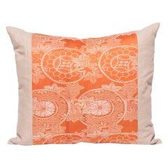 Vintage Orange Silk Obi Pillow
