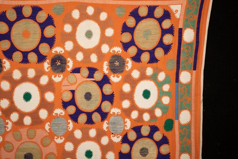 Vintage Orange Suzani from Samarkand Uzbekistan, Central Asia, 1970s 4