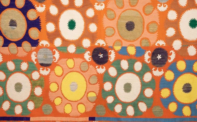 Embroidered Vintage Orange Suzani from Samarkand Uzbekistan, Central Asia, 1970s