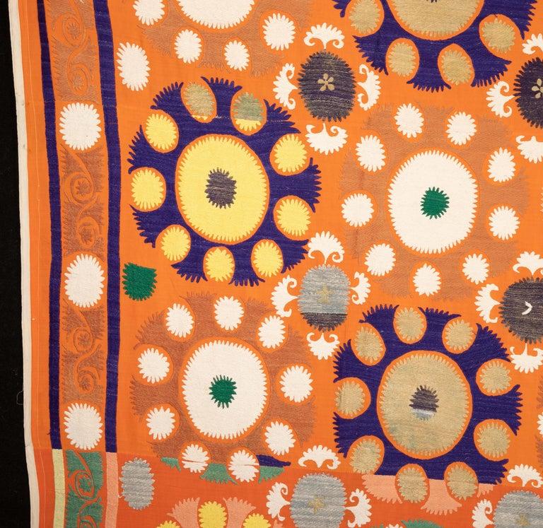 20th Century Vintage Orange Suzani from Samarkand Uzbekistan, Central Asia, 1970s