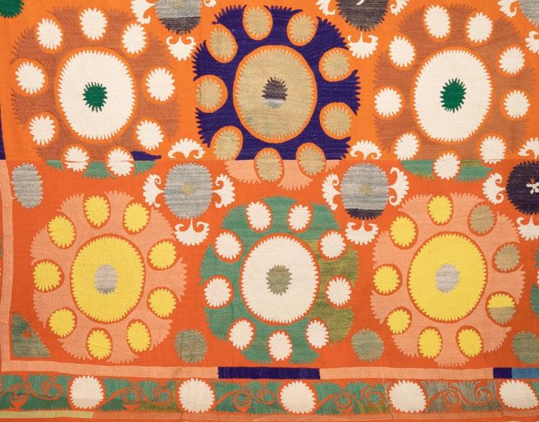Cotton Vintage Orange Suzani from Samarkand Uzbekistan, Central Asia, 1970s