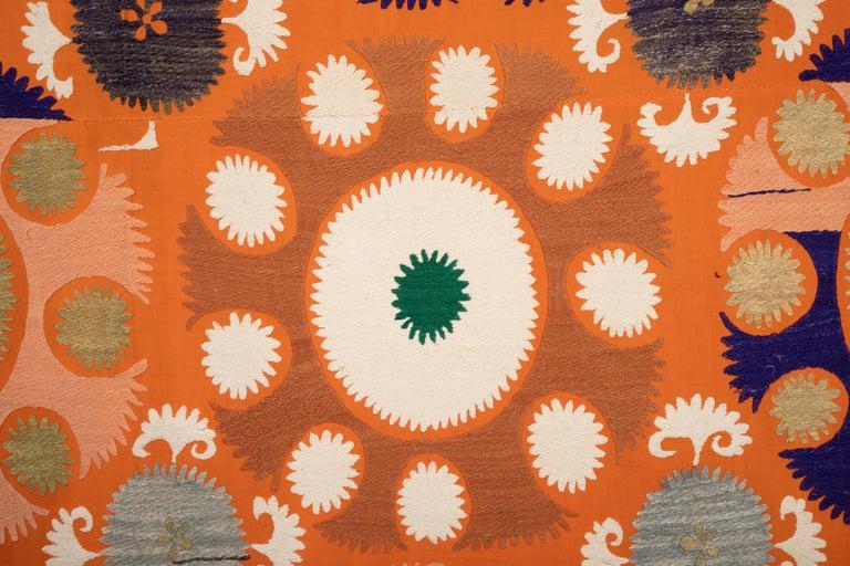 Vintage Orange Suzani from Samarkand Uzbekistan, Central Asia, 1970s 1
