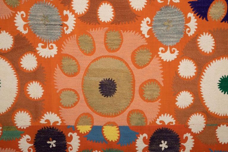 Vintage Orange Suzani from Samarkand Uzbekistan, Central Asia, 1970s 2