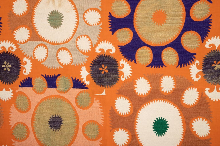 Vintage Orange Suzani from Samarkand Uzbekistan, Central Asia, 1970s 3