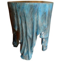 Vintage Organic Modern Carved Wood Draped Table