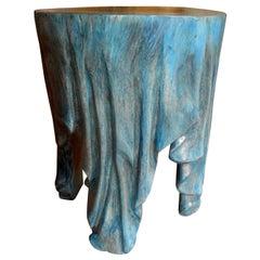 Vintage Organic Modern Carved Wood Draped Table