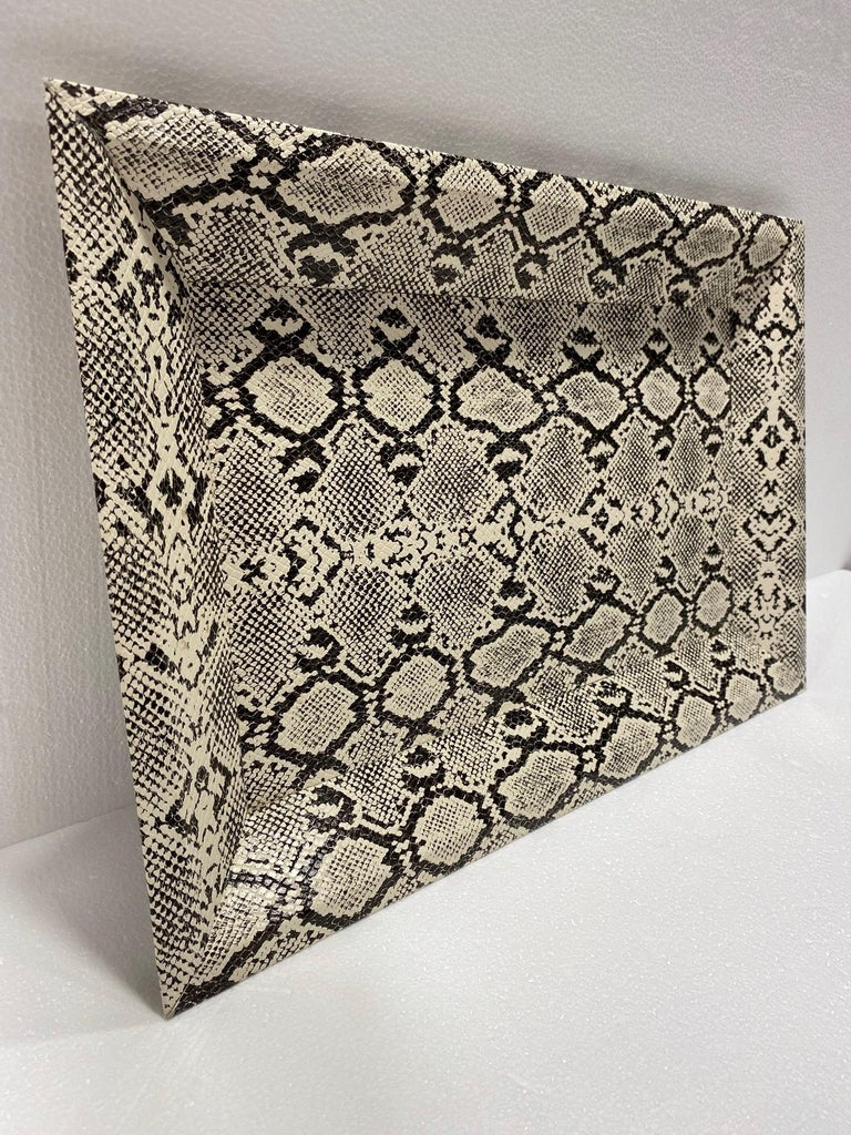 Mid-Century Modern Vintage Organic Modern Faux Python Leather Tray in Ivory and Black, circa 2010 For Sale