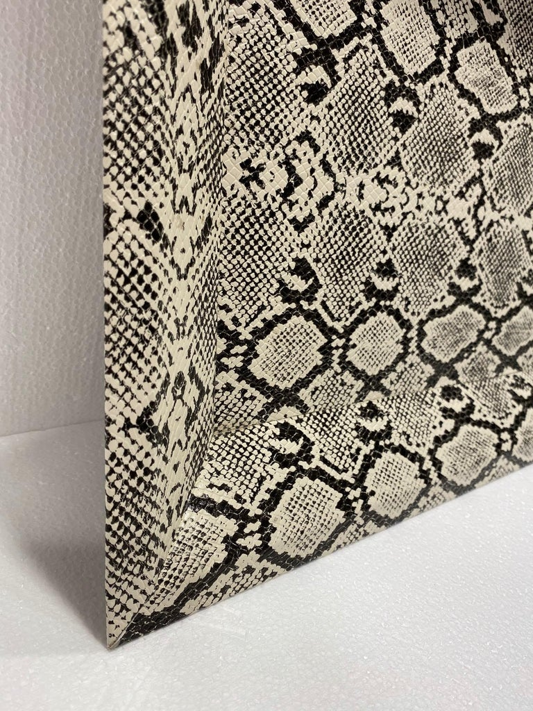 North American Vintage Organic Modern Faux Python Leather Tray in Ivory and Black, circa 2010 For Sale