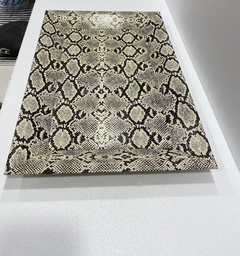 Hand-Crafted Vintage Organic Modern Faux Python Leather Tray in Ivory and Black, circa 2010 For Sale