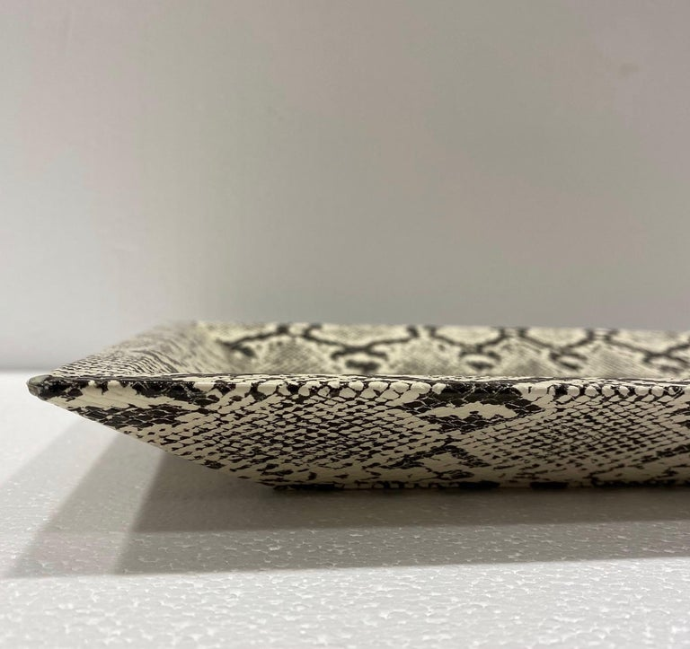 Vintage Organic Modern Faux Python Leather Tray in Ivory and Black, circa 2010 In Good Condition For Sale In Fort Lauderdale, FL