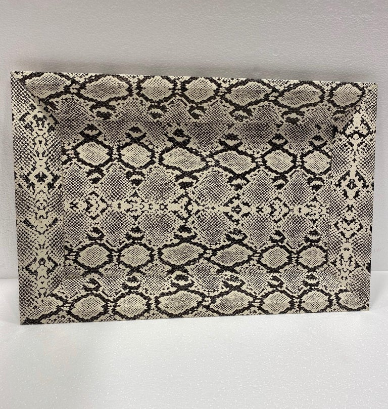 Faux Leather Vintage Organic Modern Faux Python Leather Tray in Ivory and Black, circa 2010 For Sale