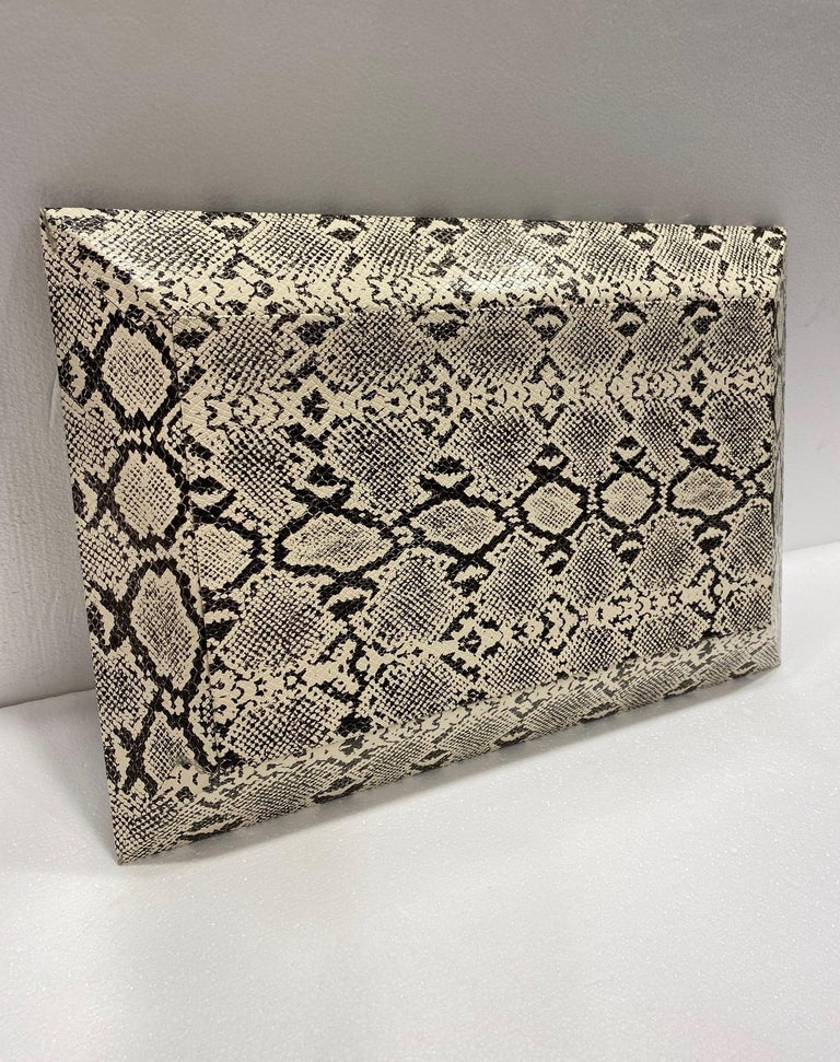 Vintage Organic Modern Faux Python Leather Tray in Ivory and Black, circa 2010 For Sale 1