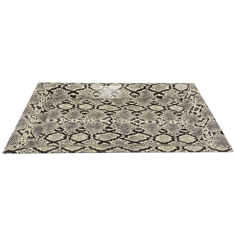 Vintage Organic Modern Faux Python Leather Tray in Ivory and Black, circa 2010 For Sale