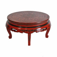 Vintage Oriental Chinese Red Lacquer Painted Folding Chinoiserie Coffee Table