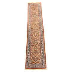 Vintage Oriental Pakistani Wool Rug Runner Red with Floral Ornaments