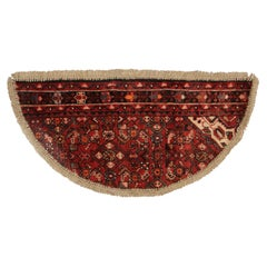 Vintage Oriental Rug Door Mat, Handmade Carpet, Semicircle Entrance Mat for Sale