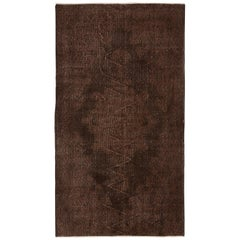Vintage Oriental Rug Overdyed in Brown Color, Wool and Cotton, Custom Options