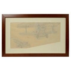 Vintage Original Aviaiton Pencil-Drawing Depicting Nieuport 11 Bebe WWI Aircraft
