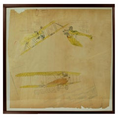 Vintage Original Aviation Drawing Depicting Three Different Biplane WWI Aircraft