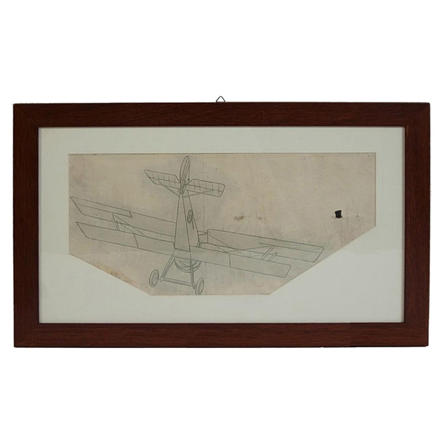 Vintage Original Aviation Pencil Drawing Depicting a Hanriot HD 1 WWI Aircraft
