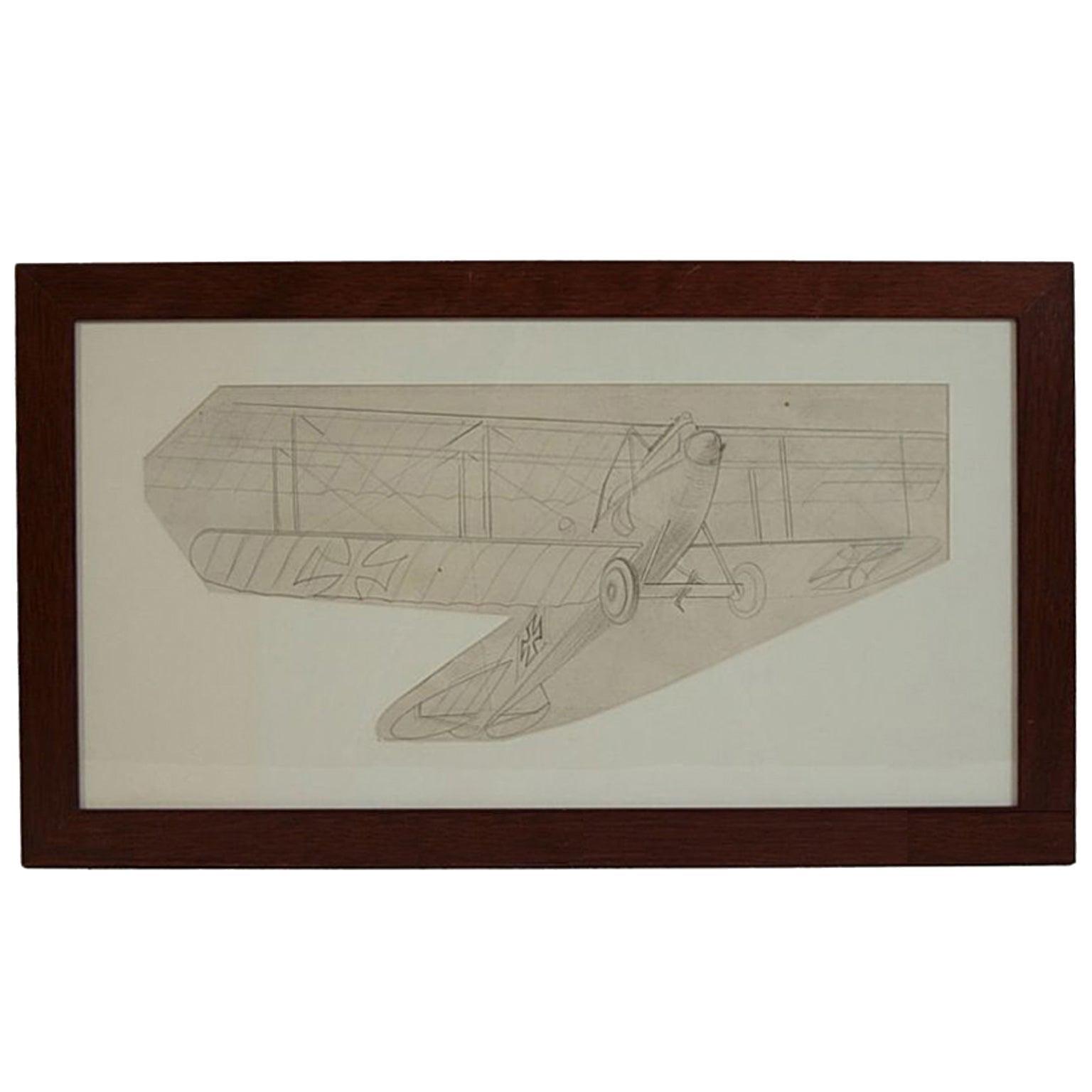 Vintage Original Aviation Pencil Drawing Depicting an Albatros CIII WWI Aircraft