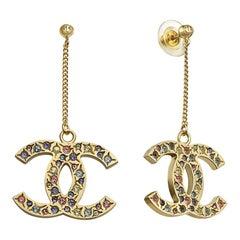 Vintage Original Chanel Double CC Pendant Drop Earrings