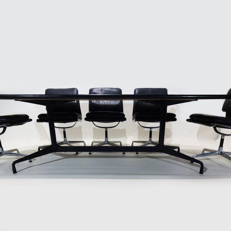 Vintage Original Eames Boardroom Table and Chair Set by Vitra and Herman Miller In Fair Condition For Sale In Highclere, Newbury
