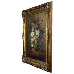 Vintage Original Mora Floral Still Life Bouquet Oil Painting Ornate Gold Frame 4
