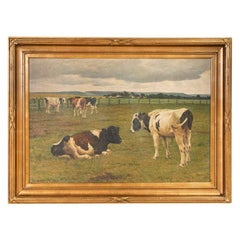 Vintage Original Oil on Canvas Painting of Grazing Cattle Signed by Poul Steffen