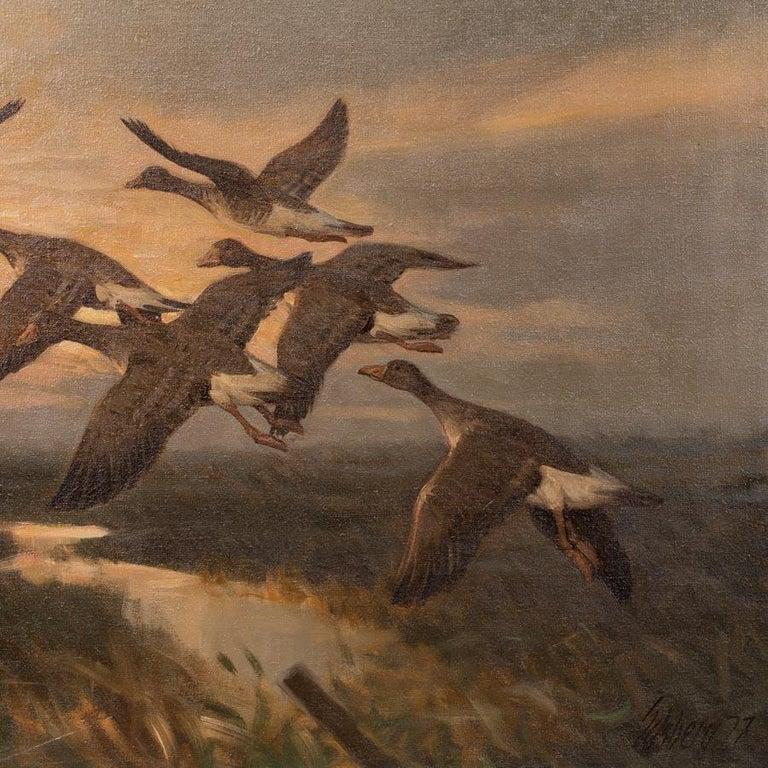 Danish Vintage Original Oil Painting of a Flight of Geese, Knud Edsberg For Sale