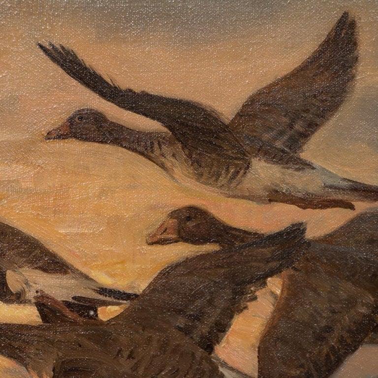 Painted Vintage Original Oil Painting of a Flight of Geese, Knud Edsberg For Sale