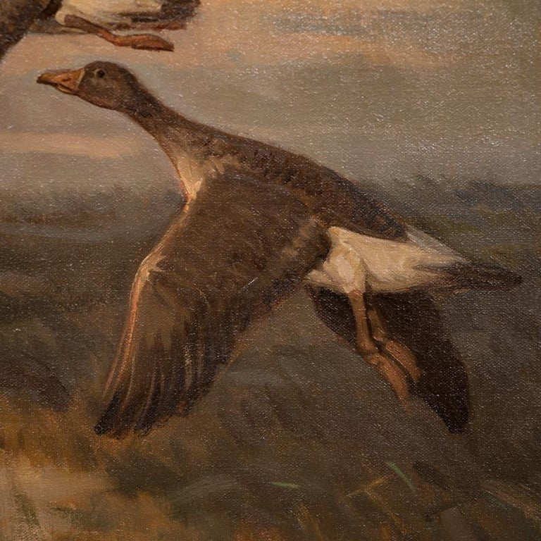 Vintage Original Oil Painting of a Flight of Geese, Knud Edsberg In Good Condition For Sale In Denver, CO